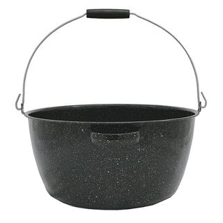 Graniteware enamel preserving pan with handle