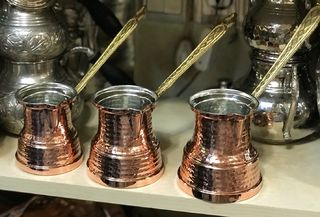 Handmade Copper Turkish coffee pot with reinforced base - 6 cup
