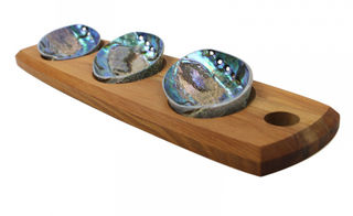Rimu and paua serving set