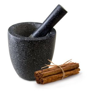 Conical black granite mortar and pestle - 15cm