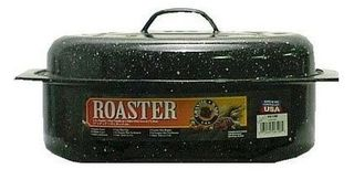 Graniteware oval enamel covered roaster - 33cm