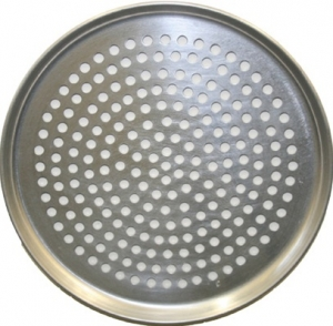 Dissco black iron pizza pan with holes - 25cm