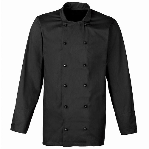 Chefs jacket - black with black popper buttons