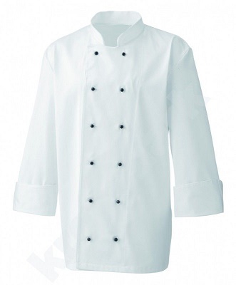 Chefs jacket - white with black or white popper buttons