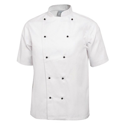 Chefs jacket - white short sleeve with black or white popper buttons