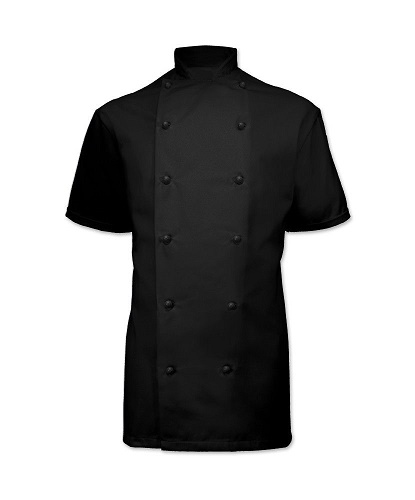 Chefs jacket - black short sleeve with black popper buttons
