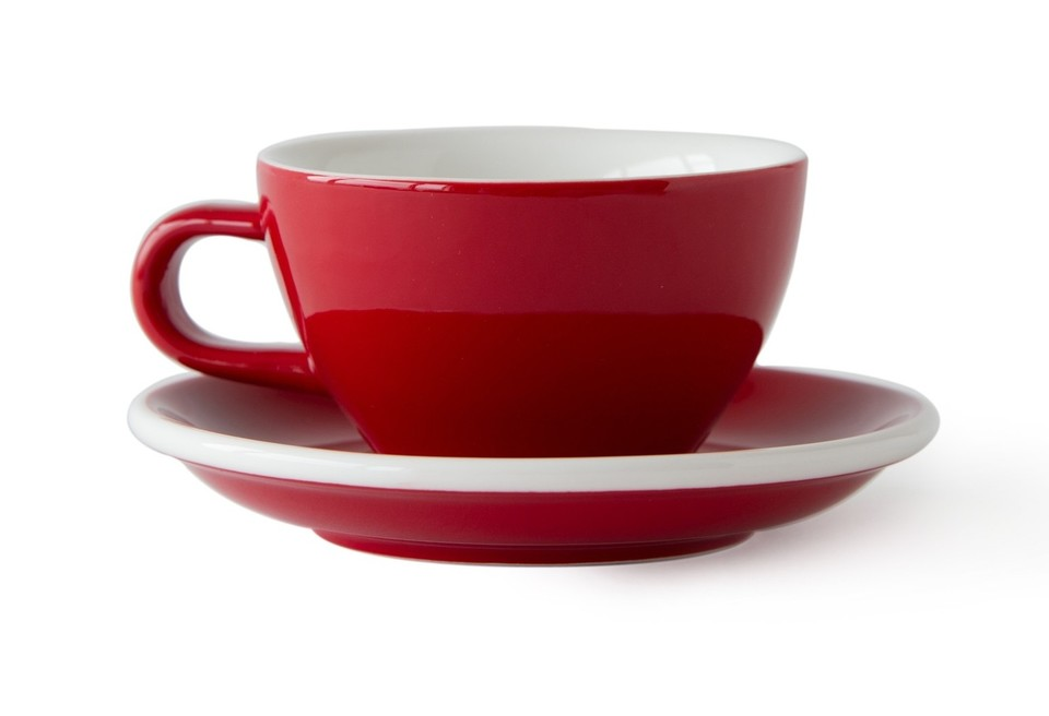 ACME Evo cafe latte cup and saucer - red