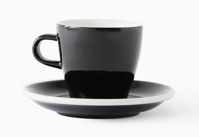 ACME Evo long black tulip cup and saucer