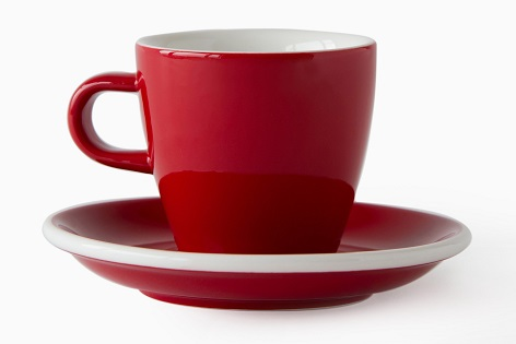 ACME Evo long black tulip cup and saucer - red