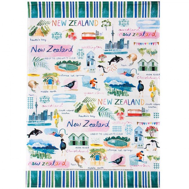 New Zealand - land of the long white cloud tea towel