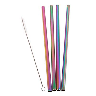 Stainless steel smoothie straw set - rainbow