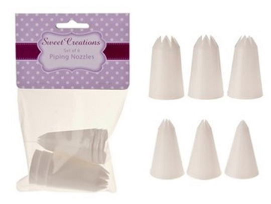 Sweet Creations plastic piping nozzles - Set of 6 stars