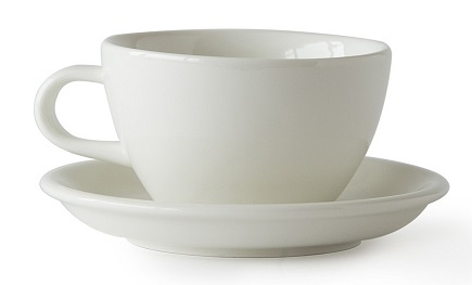 ACME Evo cafe latte cup and saucer set - white