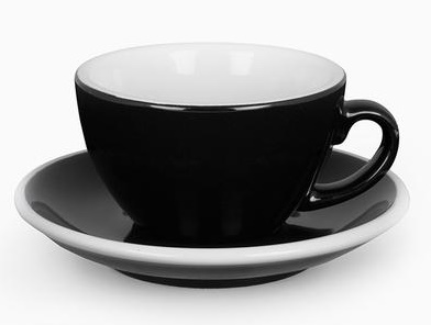 ACME cafe latte cup and saucer set - black