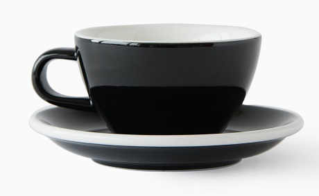 ACME Evo cafe latte cup and saucer set - black