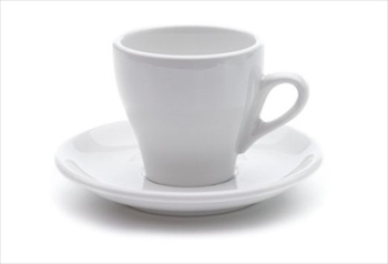 ACME long black tulip cup and saucer - white