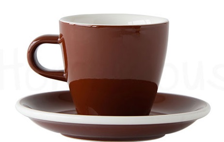 ACME Evo long black tulip cup and saucer - brown
