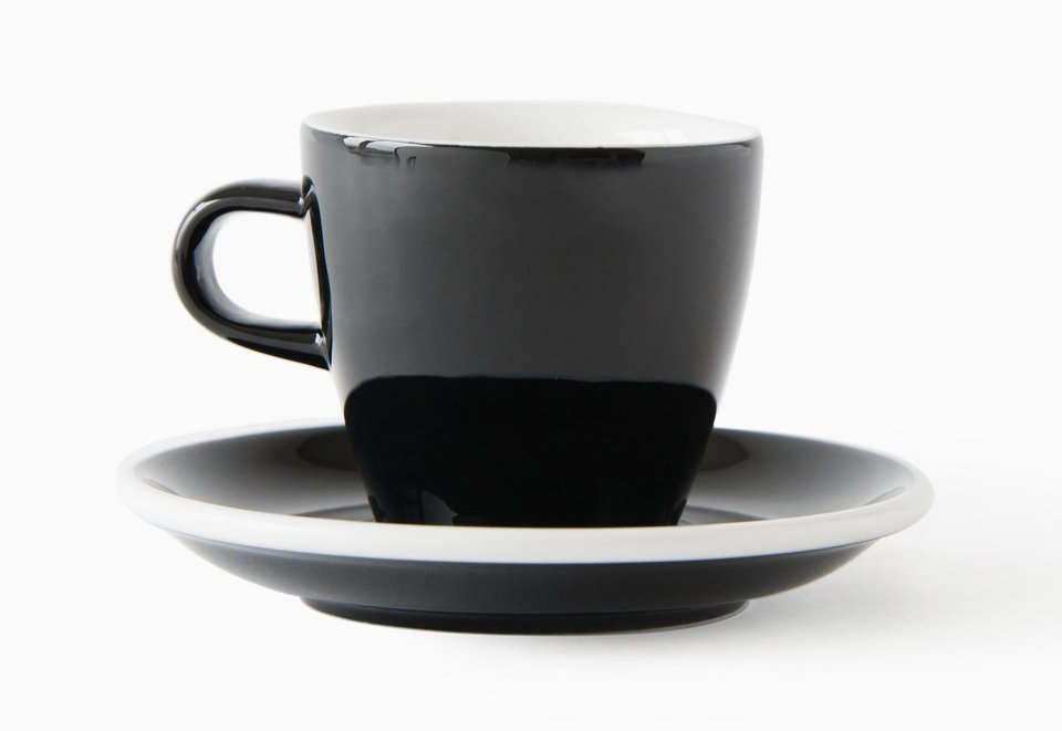 ACME Evo long black tulip cup and saucer - black